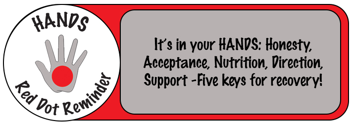 It's in Your Hands - Honesty, Acceptance, Nutrition, Direction, Support - Five Keys for recovery!